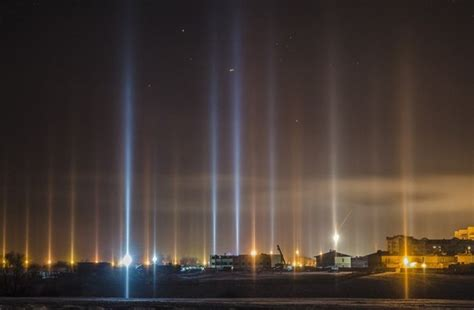 light pillars mysterious light pillars form columns of light beaming