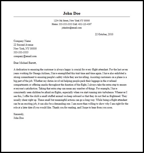 Flight Attendant Cover Letter Exles professional flight attendant cover letter sle