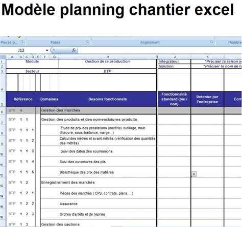 mod 232 le planning et planification chantier excel 233 ditable