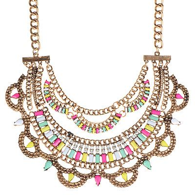 Set Kalung Anting Korean Fashion Multilayer Design Studs Earring Necklace Jewelry Set Green bright bronze multicolor decorated multilayer design asujewelry