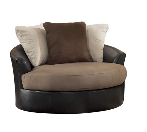 Masoli Mocha Faux Leather Fabric Oversized Swivel Accent Swivel Accent Chairs