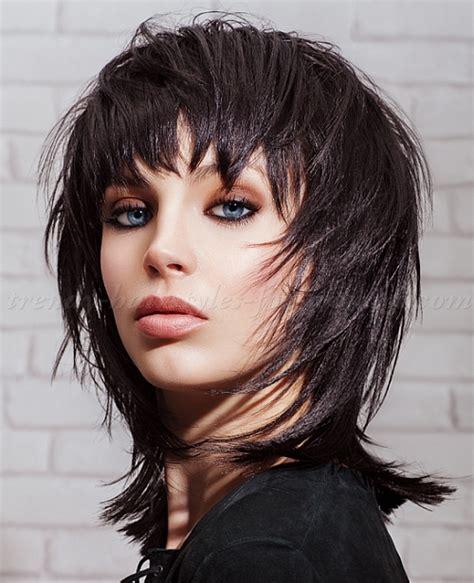 medium length hairstyles for straight hair   black shaggy