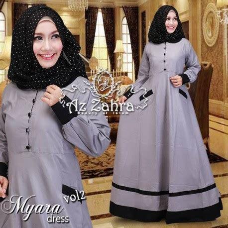 Dress Basic Kancing Brown myara 2 grey baju muslim gamis modern