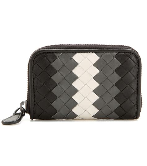 Wallet Bottega Black Ml099 lyst bottega veneta intrecciato leather wallet in black
