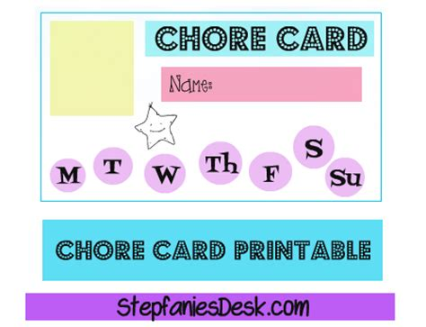 Chore Card Template by Free Chore Card Template