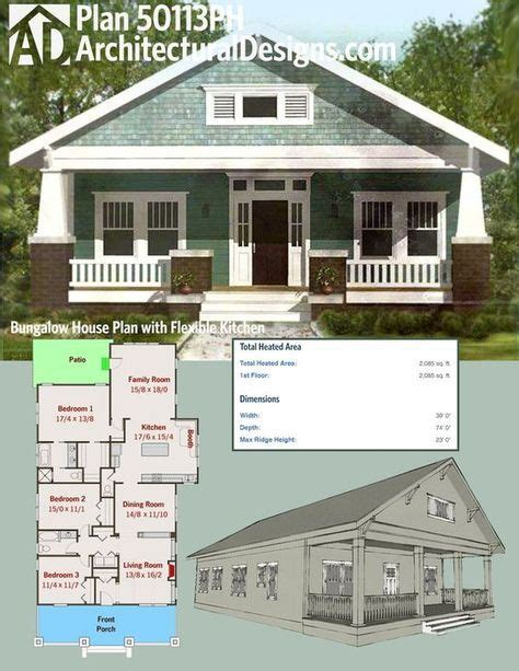 bungalow house plan with 2672 square feet and 4 bedrooms plan 50113ph bungalow house plan with flexible kitchen