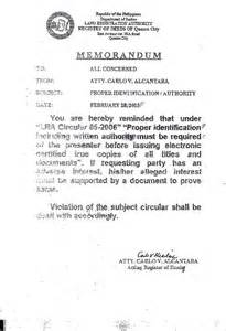 Authorization Letter Land Title certified true copies of titles and documents now require proper