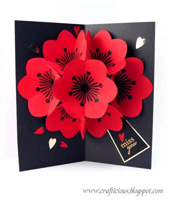 Valentines Cards Templates 3d by Crafticious Pop Up Card Flowers