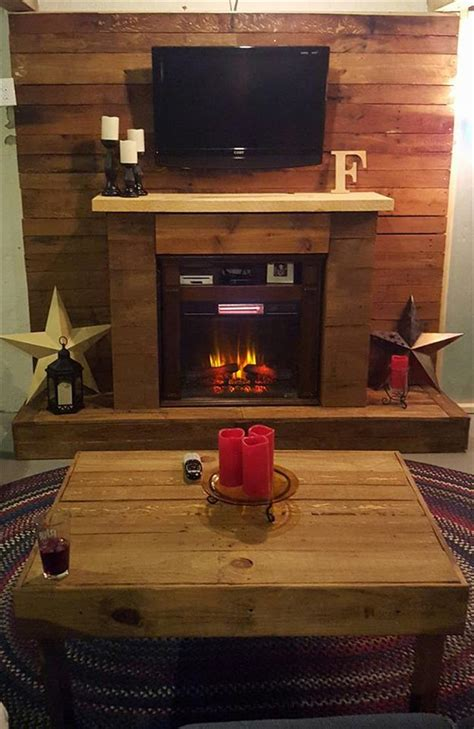 Handmade Fireplaces - pallet wall with faux fireplace 101 pallets