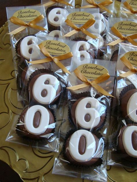 Giveaways For 60th Birthday Party - happy quot 60th quot birthday chocolate double cookie party favors www rosebudchocolates
