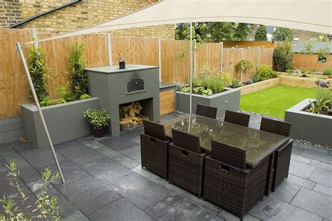Small Rectangular Backyard Designs by Wimbledon Family Garden Design With Formal Dining Terrace