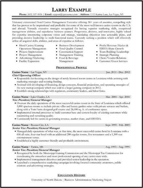 How To Write A Job Winning Executive Resume Careers Plus Blog Casino Resume Template
