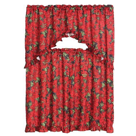 3 Piece Christmas Decorative Kitchen Curtain Set, Ruffled