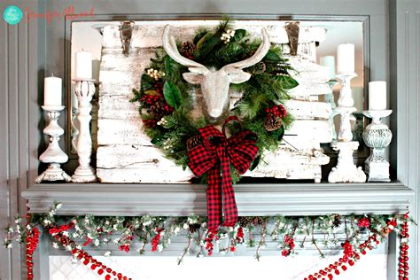 christmas mantel decorating ideas with plaid glitter