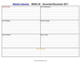 Weekly Calendar Printable Pdf December 2017 Calendar Printable Printable Calendar Office