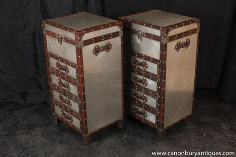 pair caign industrial nightstands chest drawers bedside