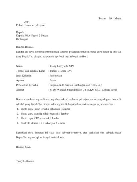 Contoh Surat Lamaran Ke Sekolah