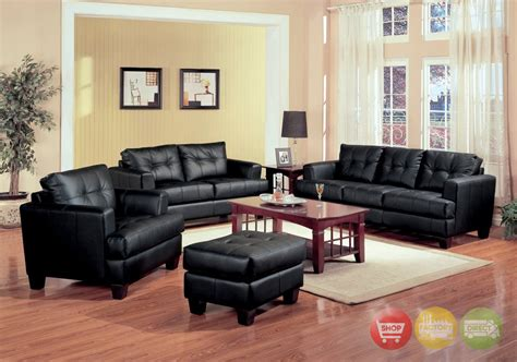 Samuel Black Bonded Leather Living Room Sofa And Loveseat Black Leather Living Room Furniture Sets