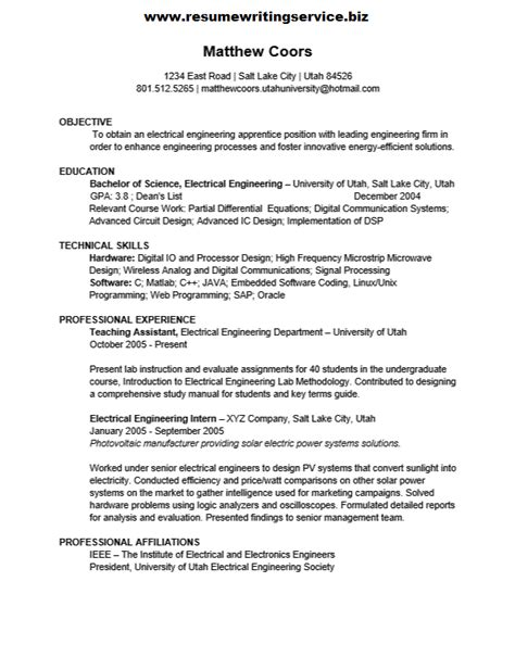 Electrical Engineering Apprentice Resume Sample