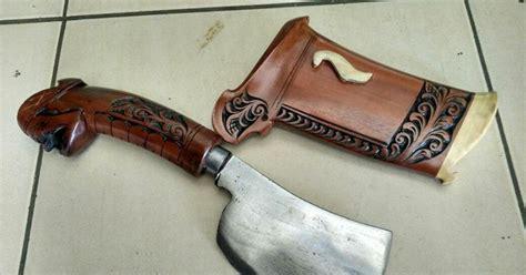 Golok Cincang Petok Kayu Jati Baja Per Cacah Chopper Daging Tulang pabrik pedang katana samurai senjata silat jual buat export golok petok