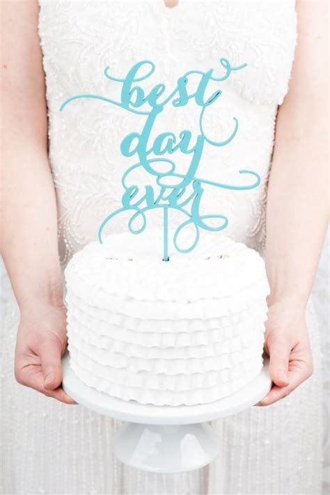 Best Day Ever Wedding Cake Topper   Tiffany Blue #2050061