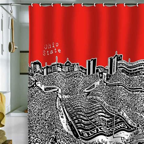 ohio state curtains deny designs bird ave ohio state buckeyes red shower
