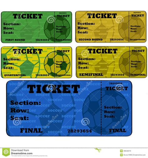 field ticket template soccer tickets stock vector image 39640373