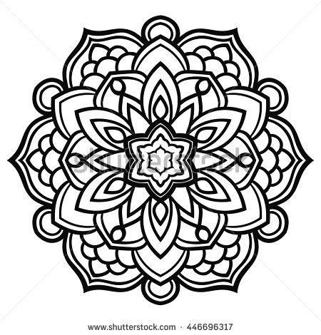 round mandala drawn black lines on stock vector 315851522