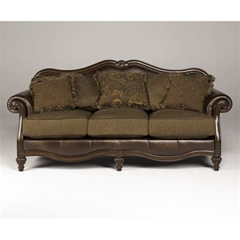 claremore antique sofa ashley claremore faux leather sofa in antique 8430338