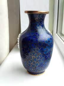 Blue Cloisonne Vase by Vintage Cobalt Blue Cloisonne Enamel Floral Vase 5