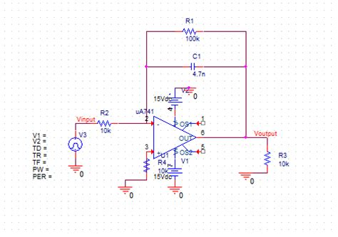 integrator circuit pspice hi i must design an integrator op in pspice f chegg