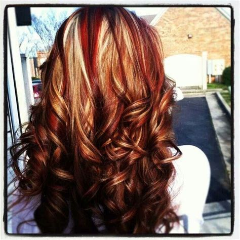 hairstyles red and blonde red and gold blonde highlights hair color cuts pinterest