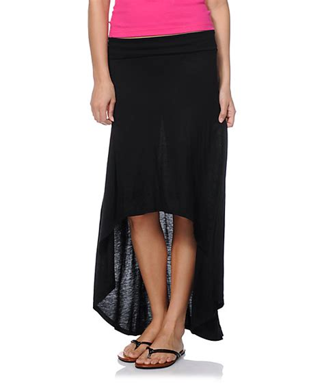 lunachix solid black high low maxi skirt