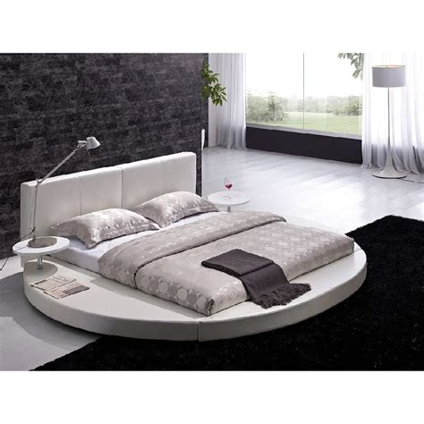 queen size modern round platform bed with headboard in