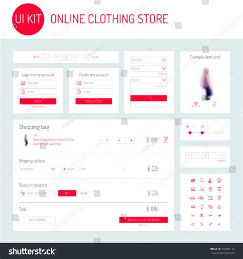 ui onlin ui ux kit clothing store stock vector 318981122