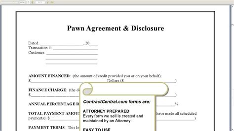 authorization letter format for pawn shop pawn agreement disclosure