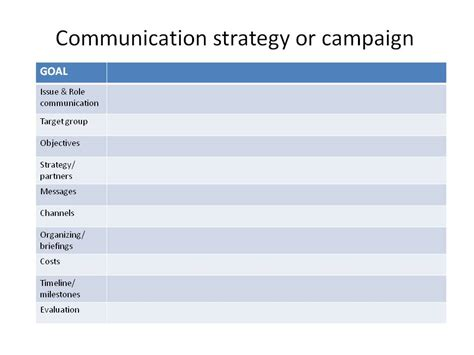 Communication Strategy Template Communication Strategy Template Playbestonlinegames