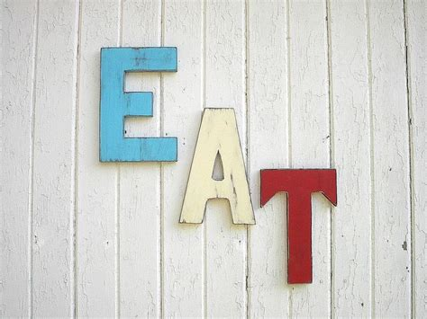 eat letters sign retro americana patriotic red white blue wooden kitc