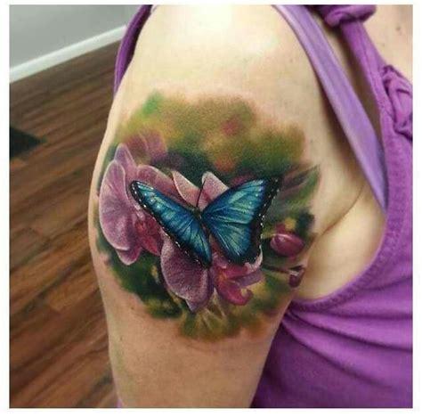 tattoo 3d flower flowers butterfly tattoo realistic tattoos pinterest