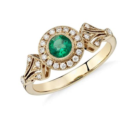 emerald jewellery emerald and halo vintage inspired milgrain ring in