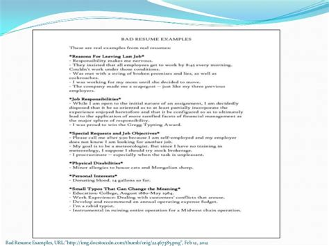 Bad Resume Exles by Exle Of A Bad Resume 28 Images Resume Bad 28 Images 3