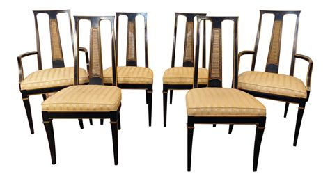 Asian Style Dining Chairs 1980s Drexel Heritage Et Cetera Asian Style Black Lacquered Dining Room Chairs Set Of 6 Chairish