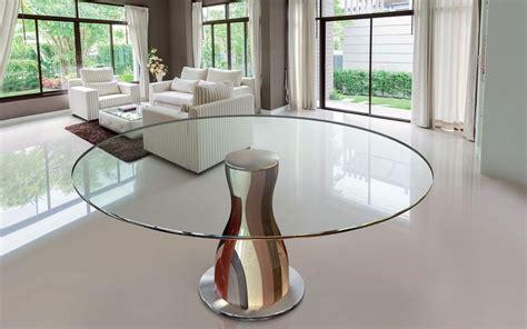 tavoli tondi design tavolo tondo piano in cristallo struttura in legni
