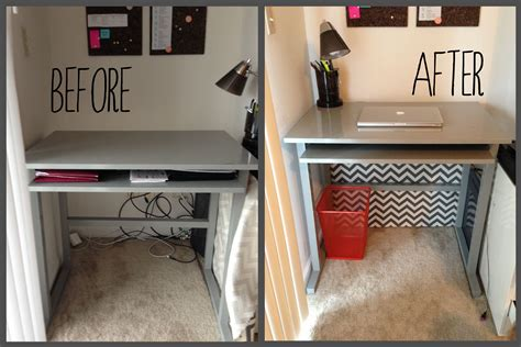 desk that hides wires attractive way to hide cords desk cleanliness
