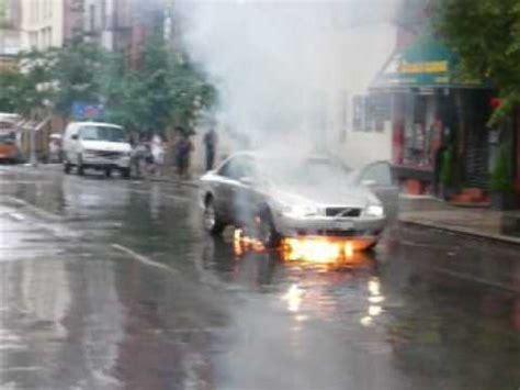 flames  volvo car fire  manhattan  street   york youtube