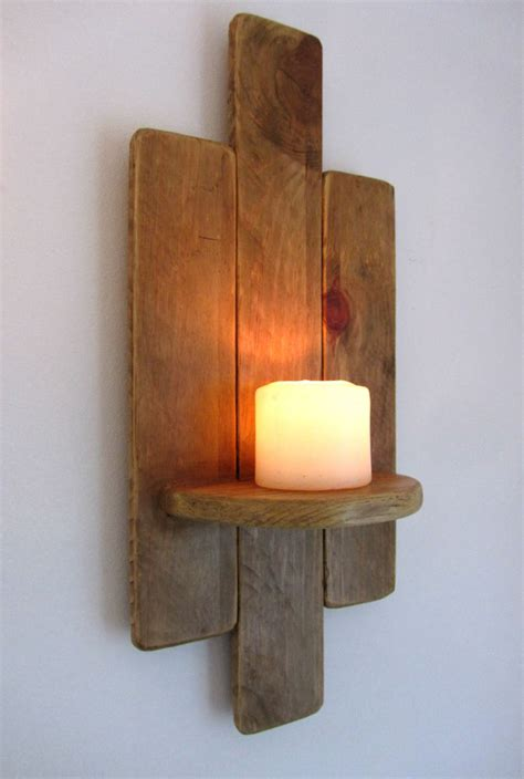 Wood Wall Sconce 48cm Reclaimed Pallet Wood Floating Shelf Wall Sconce Candle Holder Ebay