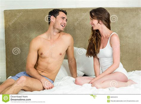 fun in bed young couple having fun on bed stock photo image 66934916