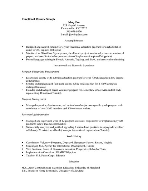 functional resume template for career change functional resume template career change images