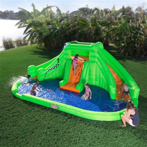backyard water toys crocodile isle inflatable water park by blast zone
