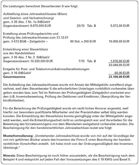 Musterrechnung Steuerberater Geb 252 Hrenrecht Jahresabschlusserstellung Nach Basel Ii Muster Honorarabrechnungen Teil 2